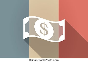 Long shadow flag of France vector icon with a dollar bank...