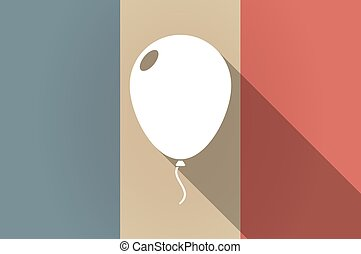 Long shadow flag of France vector icon with a balloon