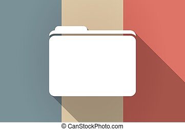 Long shadow flag of France vector icon with a folder