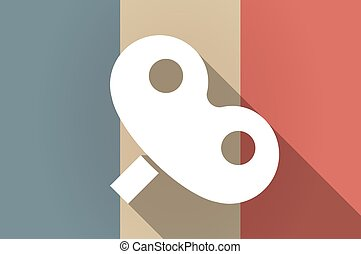 Long shadow flag of France vector icon with a toy crank -...