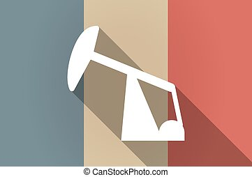 Long shadow flag of France vector icon with a horsehead pump...