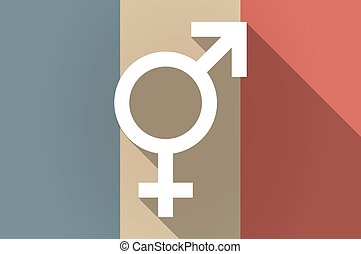 Long shadow flag of France vector icon with a transgender...