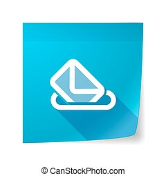 Long shadow vector sticky note icon with  a ballot box