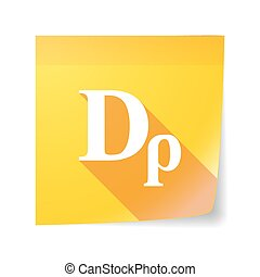 Long shadow vector sticky note icon with a drachma currency...