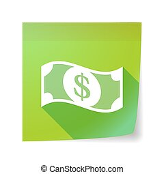 Long shadow vector sticky note icon with a dollar bank note...
