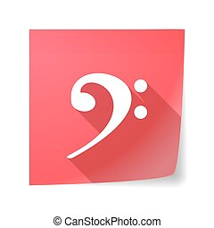 Long shadow vector sticky note icon with an F clef