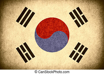flag of South Korea or South Korean banner on paper rough...