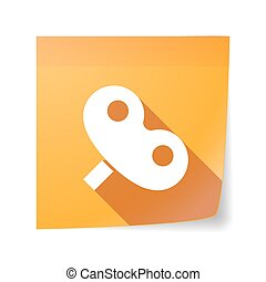 Long shadow vector sticky note icon with a toy crank -...