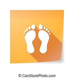 Long shadow vector sticky note icon with two footprints