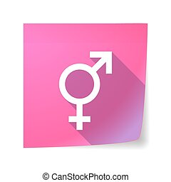 Long shadow vector sticky note icon with a transgender...