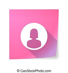 Long shadow vector sticky note icon with a female avatar
