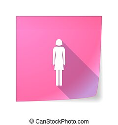 Long shadow vector sticky note icon with a female pictogram