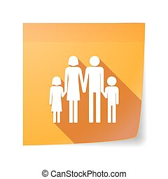 Long shadow vector sticky note icon with a conventional family pictogram