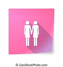 Long shadow vector sticky note icon with a lesbian couple pictogram