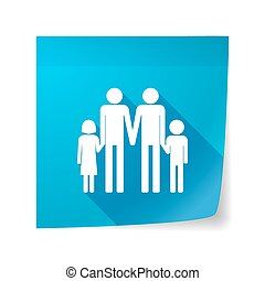 Long shadow vector sticky note icon with a gay parents  family pictogram
