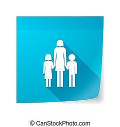Long shadow vector sticky note icon with a female single parent family pictogram
