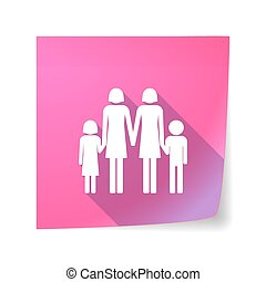Long shadow vector sticky note icon with a lesbian parents family pictogram