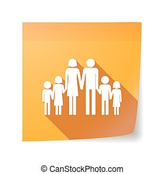 Long shadow vector sticky note icon with a large family  pictogram