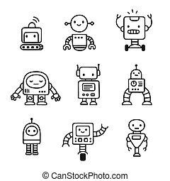 Cute cartoon robots