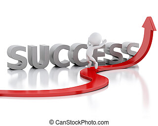 White people and red arrow. Success in business - 3d...