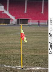 Football corner flag - Corner flag on football field with...