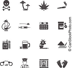 Drugs Black White Icons Set - Drugs black white icons set...