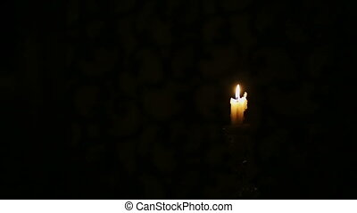 Woman Takes A Candle and Go Away - Girl takes candle and go...