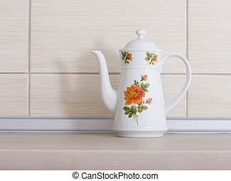 Teapot on kitchen countertop