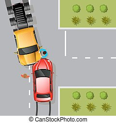 Car Accident Illustration - Car traffic accident with two...
