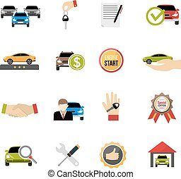 Car Dealership Icons Set - Car dealership icons set with...