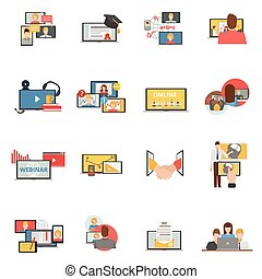 Web collaboration webinar flat icons set - Web conferences...