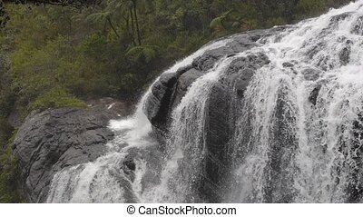 waterfall in mountains in Sri Lanka, horton plains, wolds...