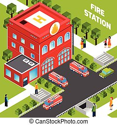 Fire Department Building  Isometric Concept