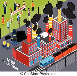 Humans Against Industrial Pollution - Isometric icons set...