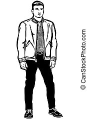 young man in a short jacket - black and white vector sketch...