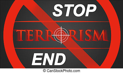 Stop / End Terrorism - hairline cross