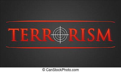 Terrorism - hairline cross - Terrorism illustration - white...