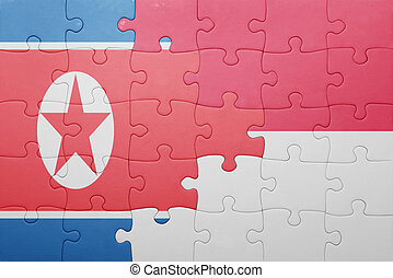 puzzle with the national flag of indonesia and north korea...
