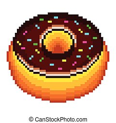Pixel donut isolated vector - Pixel chocolate donut high...