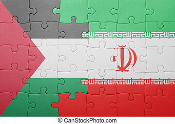 puzzle with the national flag of iran and palestine concept...