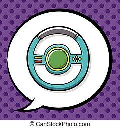 game controller steering wheel doodle
