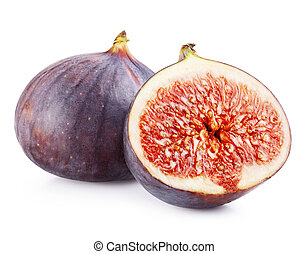 Figs fruits isolated on white background. Clipping Path