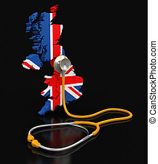 Map of United Kingdom with Stethoscope Image with clipping...
