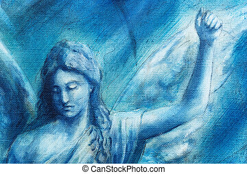 Spiritual Angel painting on canvas with blue abstract...