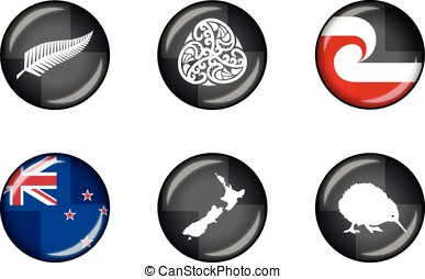 New Zealand Glossy Icon Set - Set of vector graphic glossy...