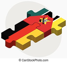 Germany and Mozambique Flags in puzzle isolated on white...