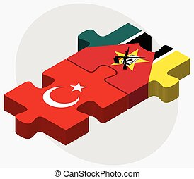 Turkey and Mozambique Flags in puzzle isolated on white...