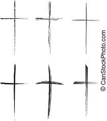 Hand-drawn vector crosses set - Hand-drawn black crosses...