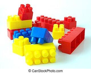 plastique, jouet, bricksplastic, jouet, briques