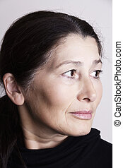 Serious asian woman - Portrait of middle age Asian woman...
